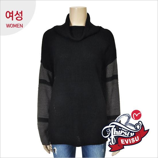 女性_零售方案宽松高领连衣裙型无领无扣衫_EN4SW055_BK